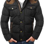 Мужская зимняя стёганая куртка с капюшоном