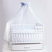 Детская кроватка Детский Сон с маятником и ящиком белая