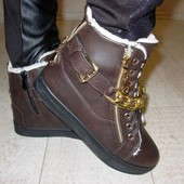 Ботинки зимние коричневые цепочки С380 р.38,39,41