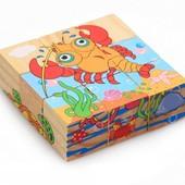 Деревянные кубики морские животные 0179
