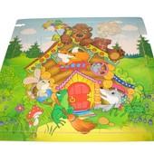 Пазлы в деревянной рамке Любимые сказки (Теремок, колобок, курочка ряба)