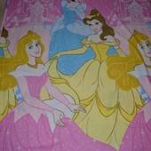 Качественная полуторная постель постельное белье двухстороннее Принцессы Дисней Disney