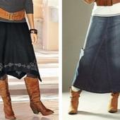 Джинсовая длинная  юбка DKNY р.48
