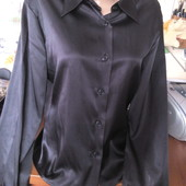 Атласная черная блуза benetton 46-48р