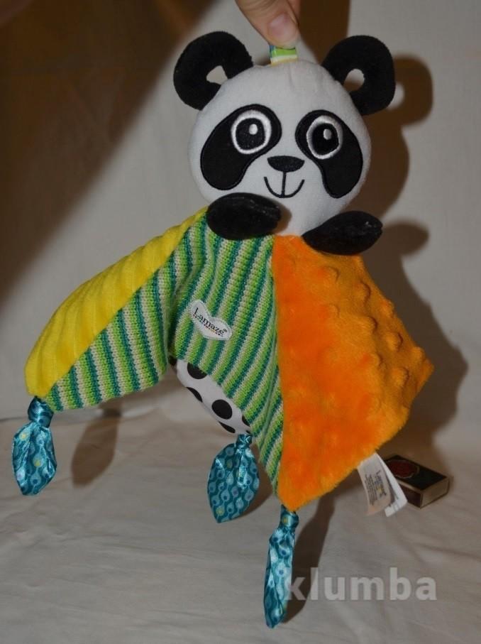 Lamaze ламазе фирменное развивающее полотеничко погремушка подвеска панда фото №1