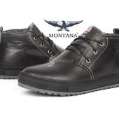 Ботинки мужские зимние кожаные Montana casual black на меху
