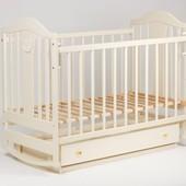 Кроватка Laska-M Наполеон New c ящиком + маятник ваниль