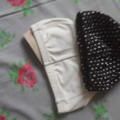 Белая или черная в горох шапочка для бассеина текстильная