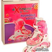 Ролики розовый M(30-33)пласт.рама,клипса,шнурок,свет,колеса pu,Abec-5.aртикул: EM-007