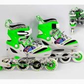 Доставка! Ролики 31-34р. зеленые колеса pu,алюм. рама, подшипник Abec-7.aртикул: ST 9005 / 466