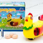 Курочка несушка. Курица несет яйца, ходит, кудахчет, светятся глаза и крылья.