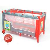 Манеж цвет красный, двухуровневый, 2 колеса со стопорами, пеленатор, сумка (BT016)