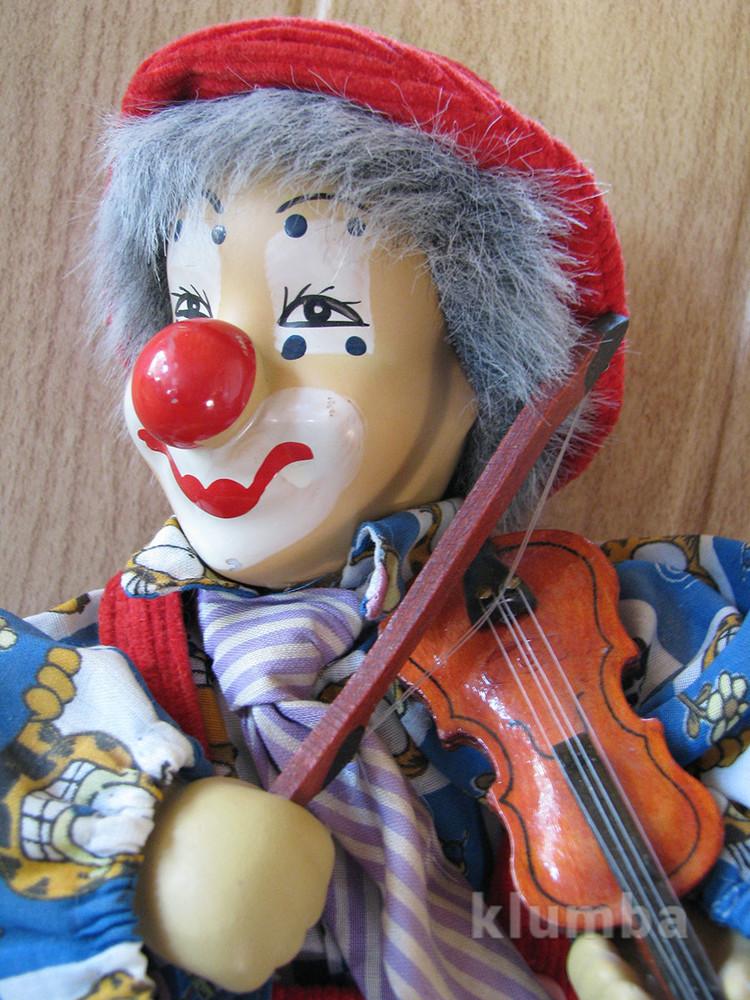 Кукла музыкальный клоун фарфор 32см фото №1
