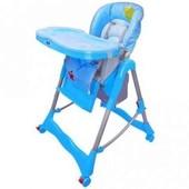 Стульчик для кормления-с корзиной-на колесах, голубой