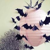 Наклейки на стену бабочки в виде летучих мышей 12 шт на скотче
