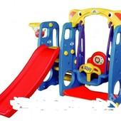 Детская игровая площадка, горка, качеля, бакетбол 4in1