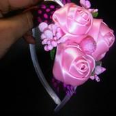 обруч фиолетовый,розовый,молочный,айвори розами