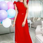 Платье макси в пол красное новогоднее. Размер 46-48