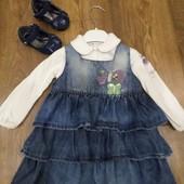 Набор:джинсовый сарафан, трикотажная кофточка и туфли