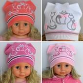 В наличии!!!Шапка шапочка для девочки осень, 1 слой, 2-7 лет: р.48-52 и 50-54