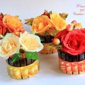 сладкий букет с гофрированной бумаги цветы с конфетами