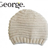 Шапка вязанная бежевая демисезонная детская, бренд «George» (Англия)