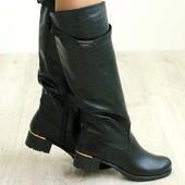 Демисезонные женские кожаные сапоги низкий ход
