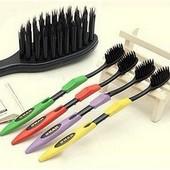 Бамбуковые зубные щетки черные с нано покрытием.  1уп - 4шт.