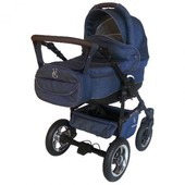 Детская универсальная коляска Victoria Gold Saturn Len Plastic 2в1, темно-синий джинс, slp4