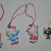Маленькая Hello Kitty хелоу китти пластиковый брелочек брелок можно на телефон