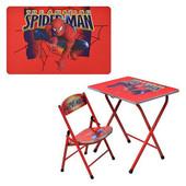Парта метал- Спайдермен, со стульчиком, складные, красный, в кор-ке