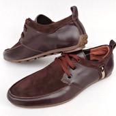 Мокасы на шнурках натуралка (коричневые)