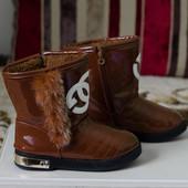 Сапоги зимние Chanel реплика полусапожки 34р.