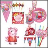 2 вида! Посуда и декор для Дня Рождения в стиле Свинка Пеппа (peppa pig)