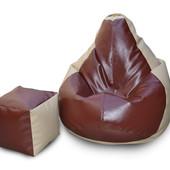 Комплект кресло-груша 120х90 см и пуфик-кубик 35х35 см из эко-кожи бежево-коричневое
