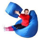 Комплект кресло-груша большое 140х110 см и пуфик-кубик из ткани Оксфорд синие