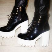 Ботинки женские черные тракторная подошва Д434 р.38,39