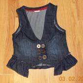 Стильная джинсовая безрукавка Next для девочки 10 лет, 140 см