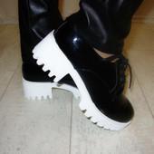 Туфли женские черные тракторная подошва Т468 р.36,40