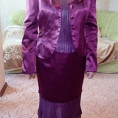 Женский нарядный атласный костюм тройка 46р