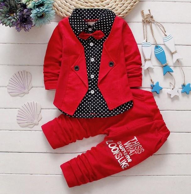 Костюм с бабочкой, пиджак обманка и штаны, р 80-110 см. фото №1