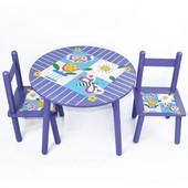 Детский Стол + 2стула 2407-101  Цветы, круглый