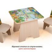 +Видеообзор! Гарантия 2 года! Игровой столик Динозаврики+2 стульчика, фотопечать, укр. производитель