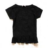 Чёрная кружевная блуза-топ с баской для девочки. Miss e-vie. Размер 8-9 лет. Состояние: новой вещи.