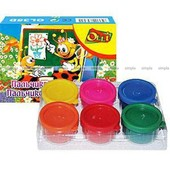 Набор красок для рисования пальчиками 6 цветов по 35мл, Olli OL35D