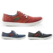 Мужские слипоны на шнурках: черные, серые, красные Модель:  054