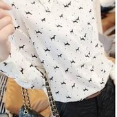 Блуза Белая в Собачки