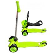 Самокат 3в1 с наклоном руля и сидением scooter, SKL-06-100B, зеленый