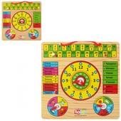 Деревянные игрушки - часы-календарь на русском и украинском