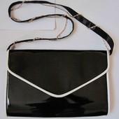 Новая черная сумка планшет лакированная Плато Plato кроссбоди черный лак клатч